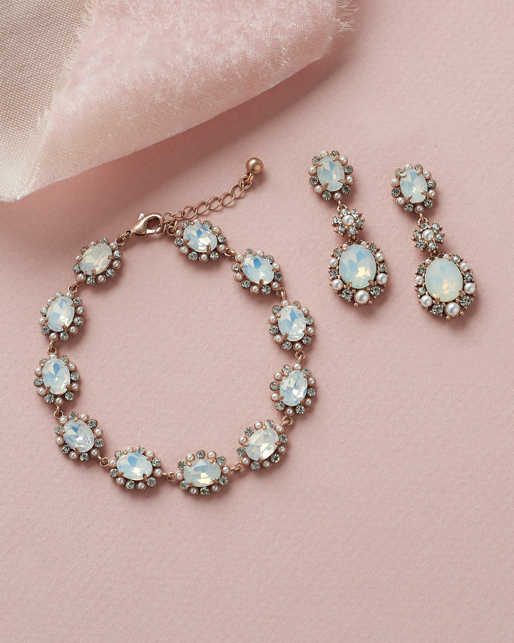 Rose Gold Opal & Pearl Wedding Earrings & Bracelet Set