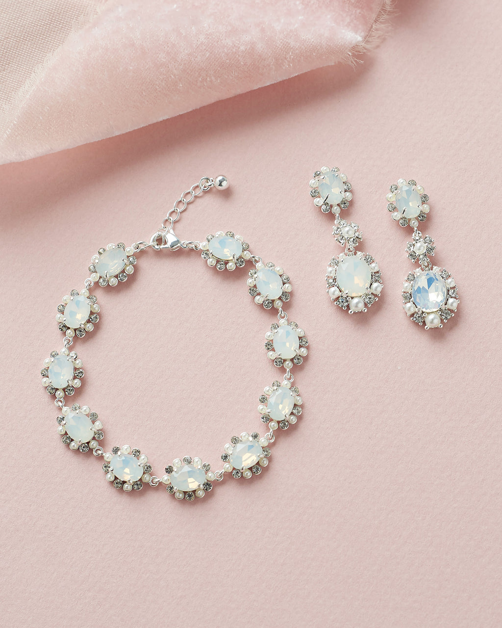 Silver Opal & Pearl Bridal Earrings & Bracelet Set
