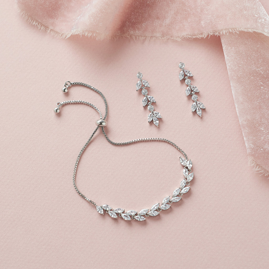 Silver Floral CZ Bridal Bracelet & Earrings Set