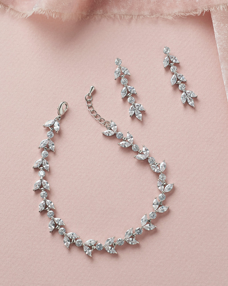 Floral CZ Silver Wedding Earrings & Bracelet Set
