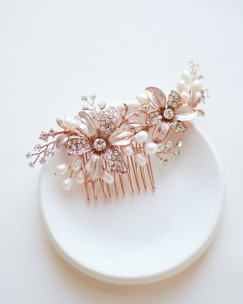 Bridal Comb Rose Gold