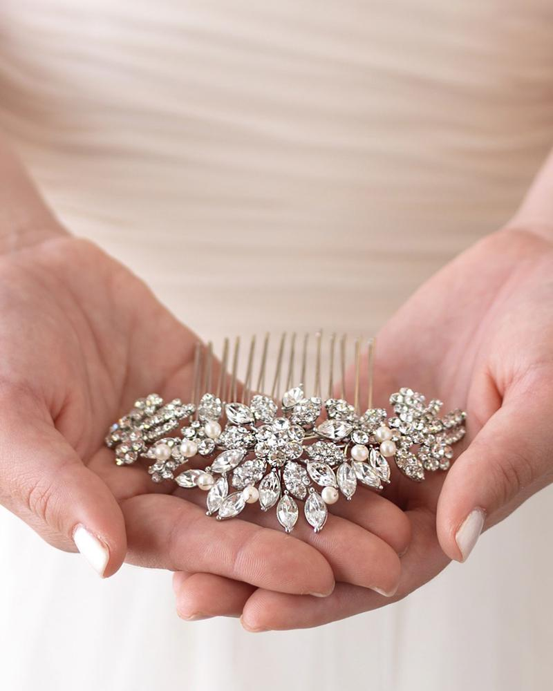Silver Vintage Inspired Rhinestone Hair Comb
