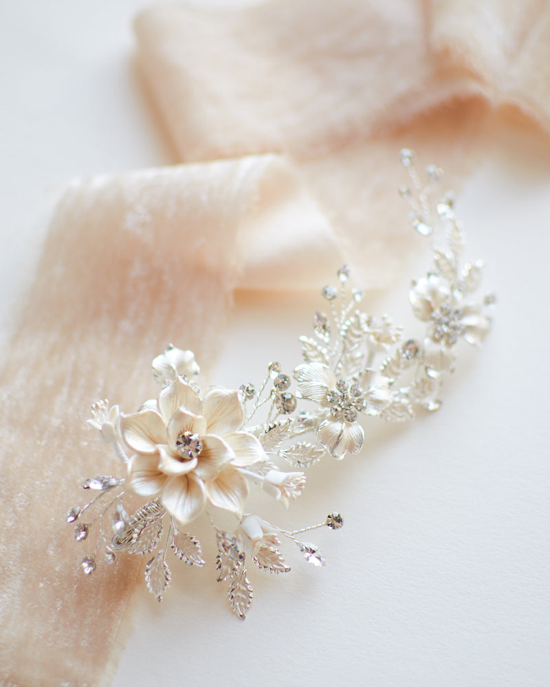 Flower Bridal Comb Clip