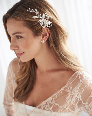 Silver Pearl & Floral Wedding Hair Clip Side Swept Hairstyle