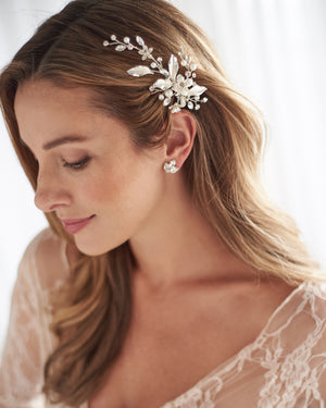 Classic Silver Pearl & Floral Bridal Hair Clip Side Swept Hairstyle