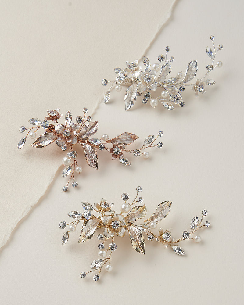 Petite Pearl & Floral Wedding Hair Clips