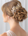 Gold Floral Wedding Clip