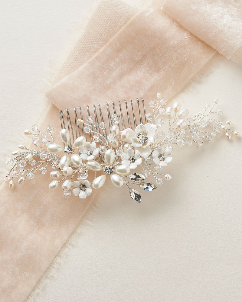 Crystal Pearl Floral Wedding Hair Comb
