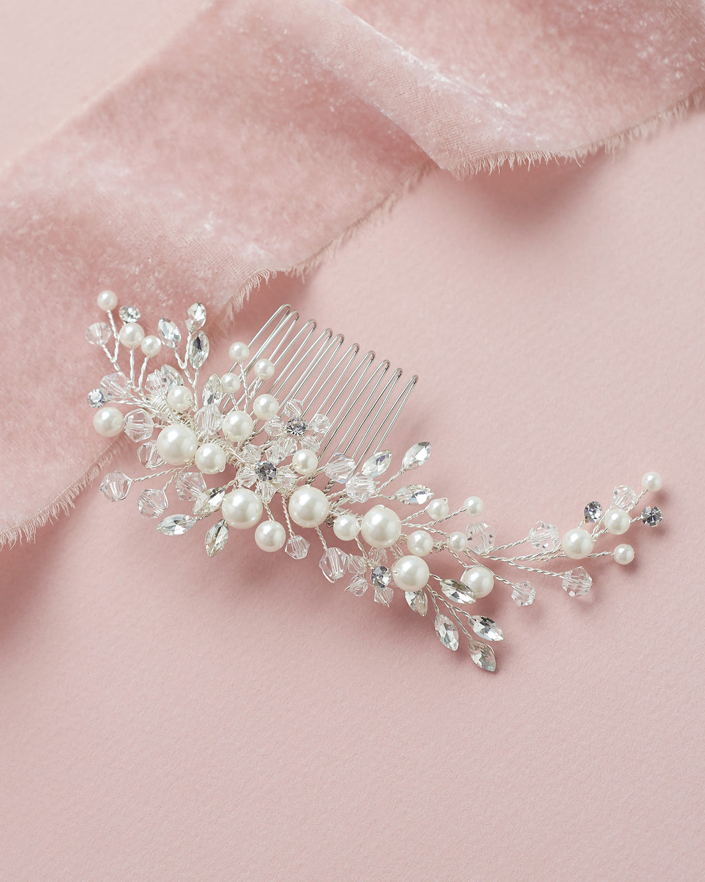 Silver Pearl Wedding Comb