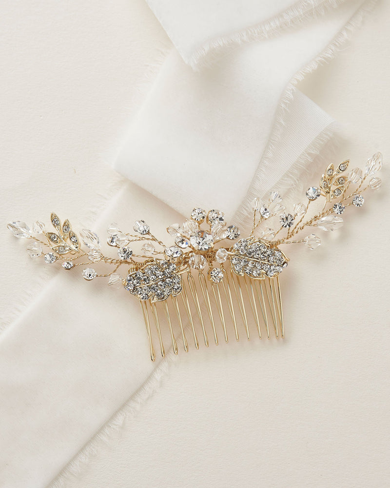 Gold Crystal Bridal Comb