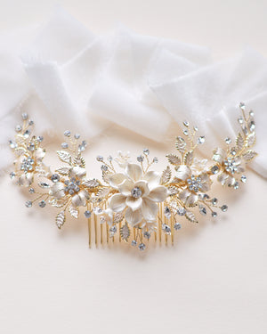 Gold Floral Bridal Hair Accessory
