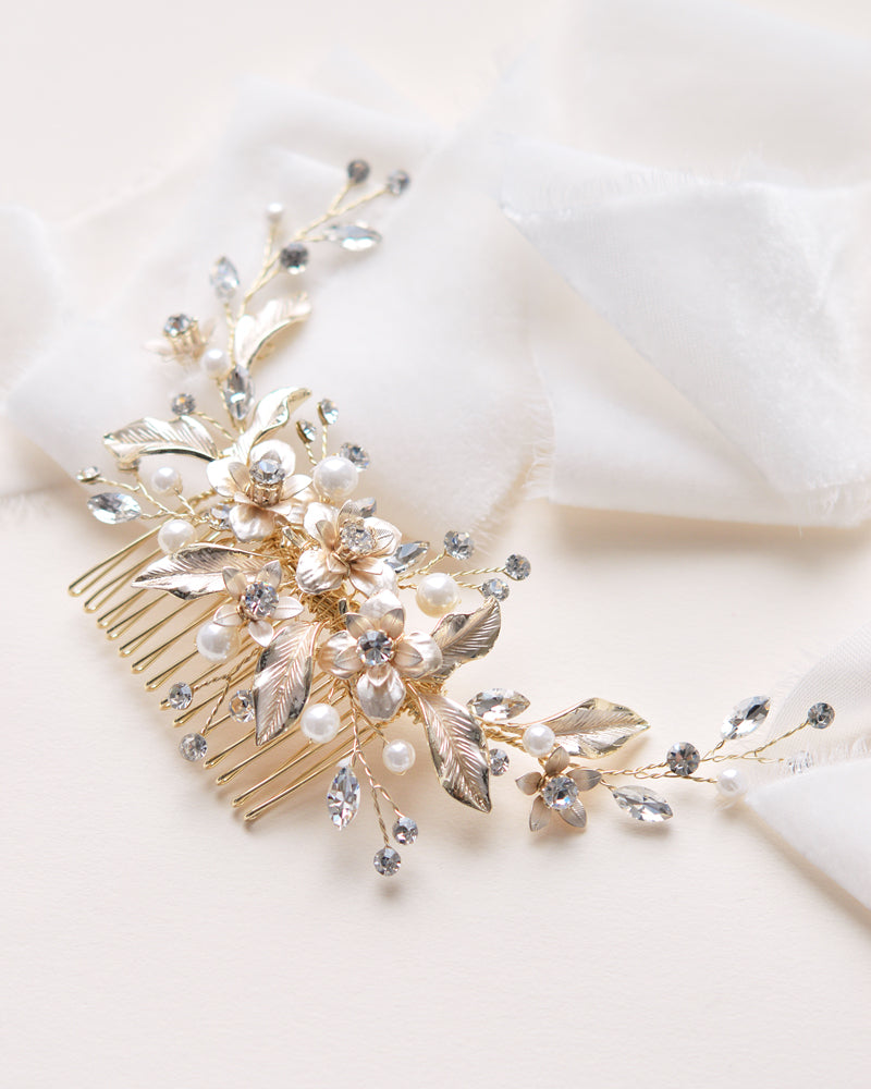 Gold Pearl Wedding Comb