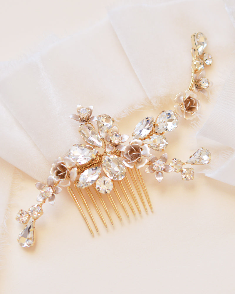 Gold Floral Wedding Hair Accessory