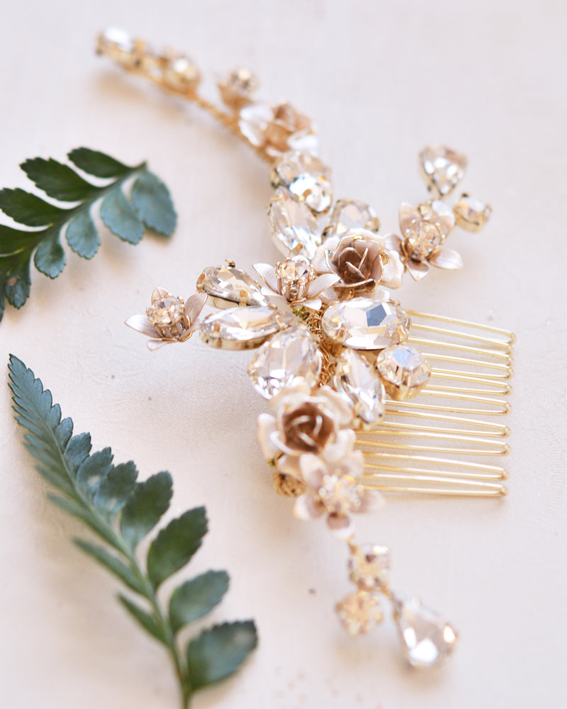 Gold Crystal Floral Hair Accessory
