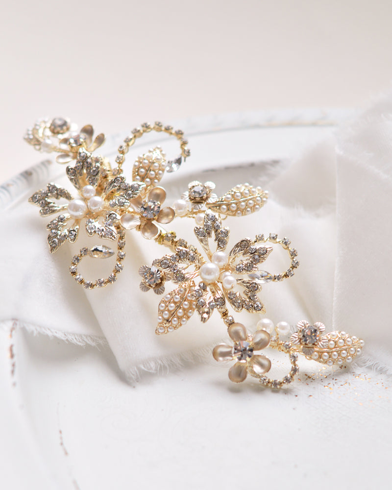 Gold Pearl & Crystal Gemstone Floral Bridal Hair Clip