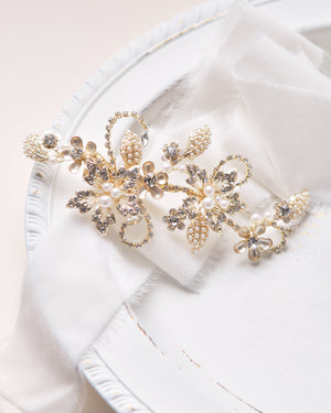 Gold Floral Pearl & Crystal Gemstone Wedding Hair Clip