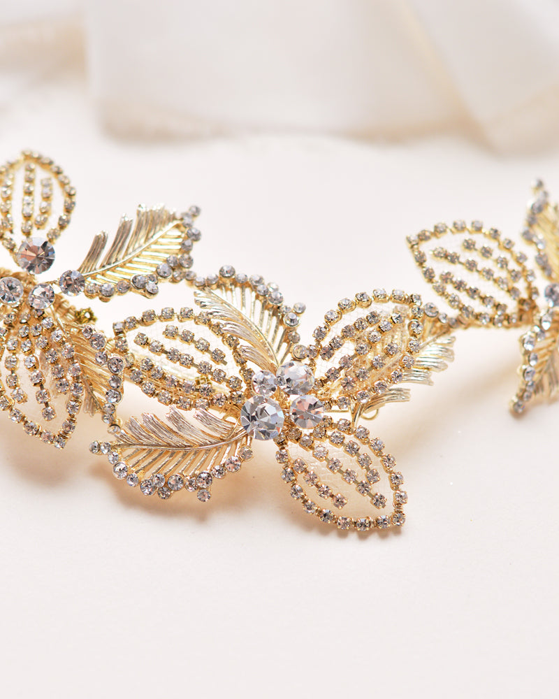 Gold Crystal Gemstone & Floral Wedding Hair Accessory