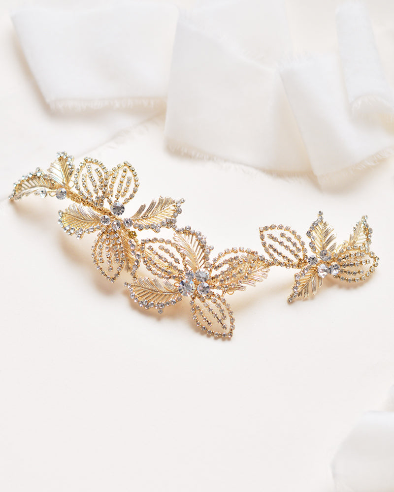 Gold Crystal Gemstone & Floral Bridal Hair Clip