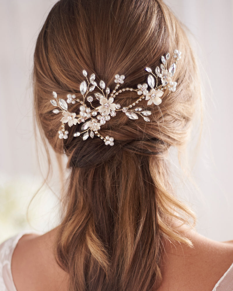 Gold Floral Wedding Hair Clip