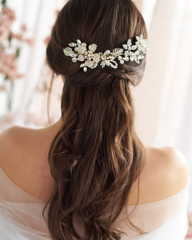 Petite Pearl & Floral Wedding Clip