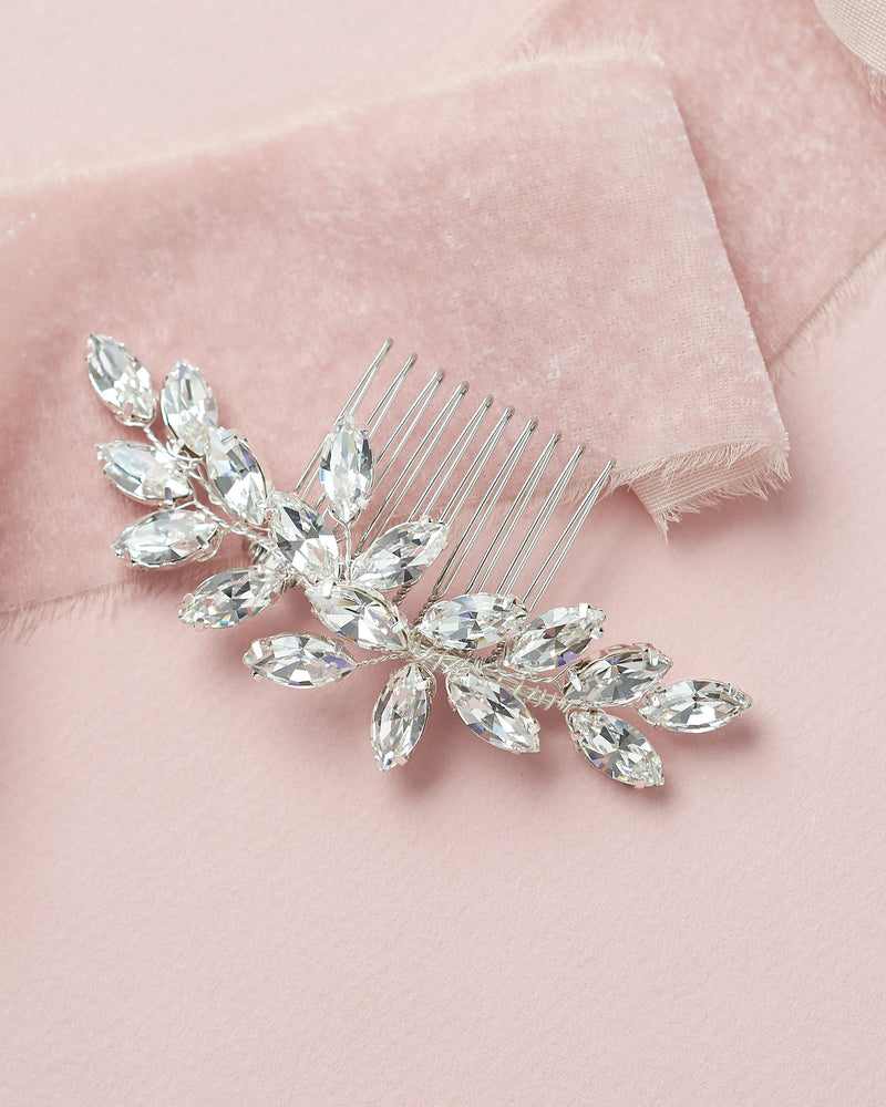 Silver Opal Wedding Comb