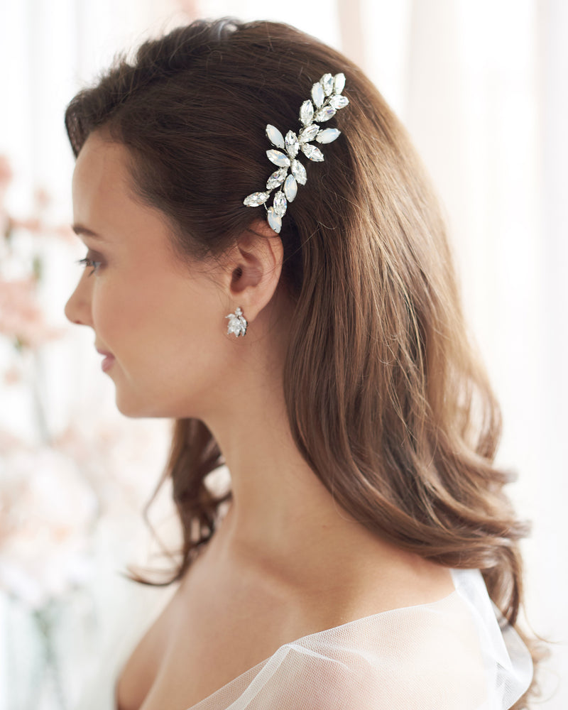 Silver & Opal Wedding Hair Comb