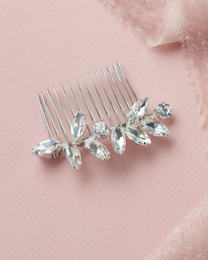 Small Bridal Comb with Crystals