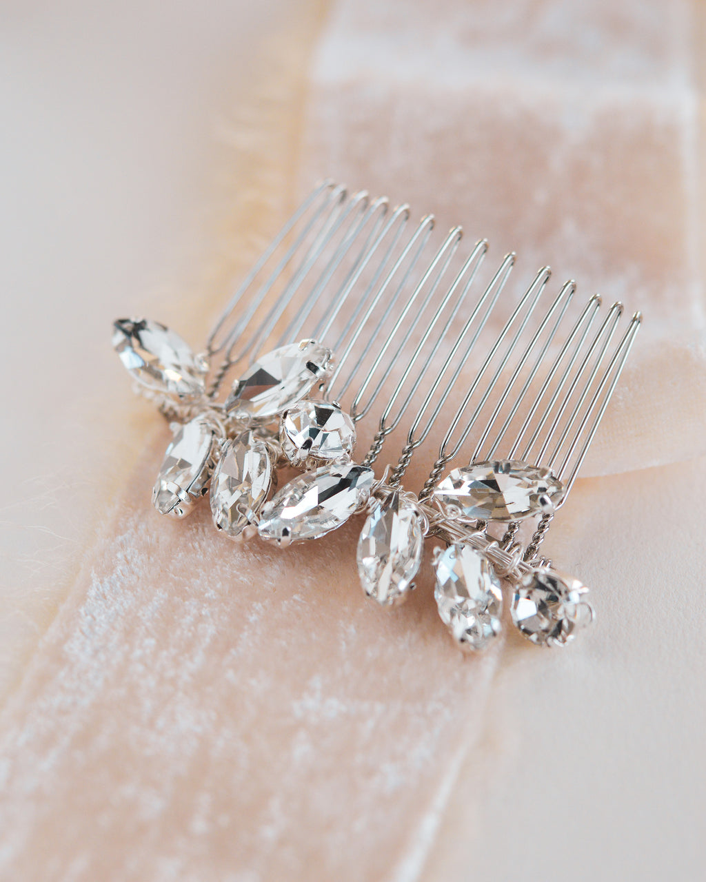 Opal & Crystal Silver Hair Comb