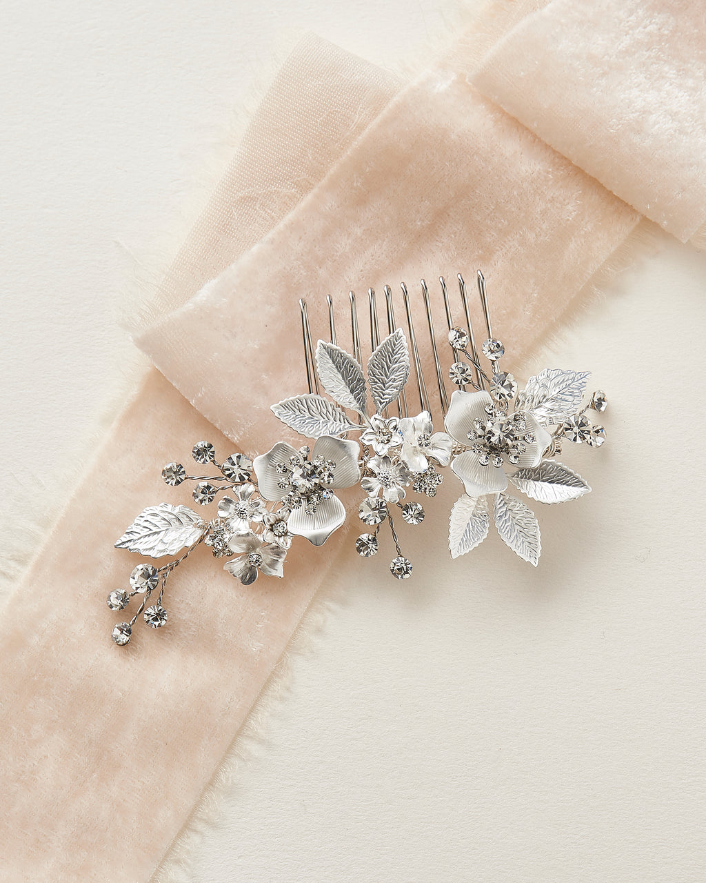Silver Floral Wedding Hair Comb