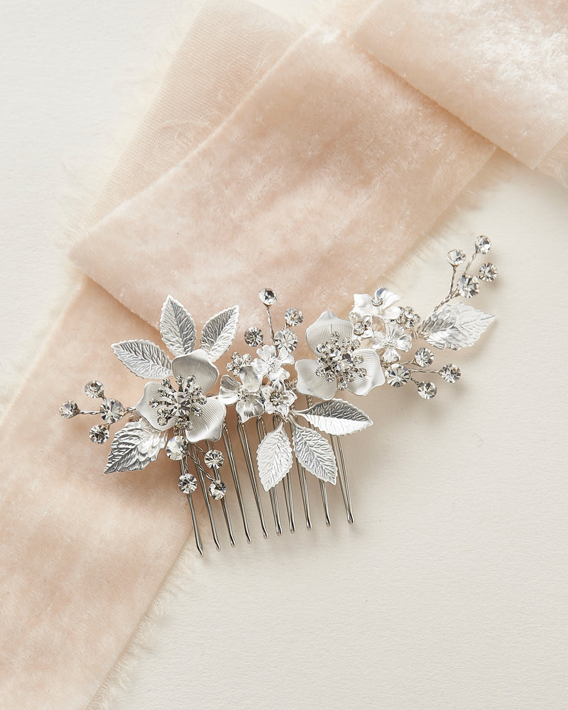Silver Floral & Crystal Bridal Comb
