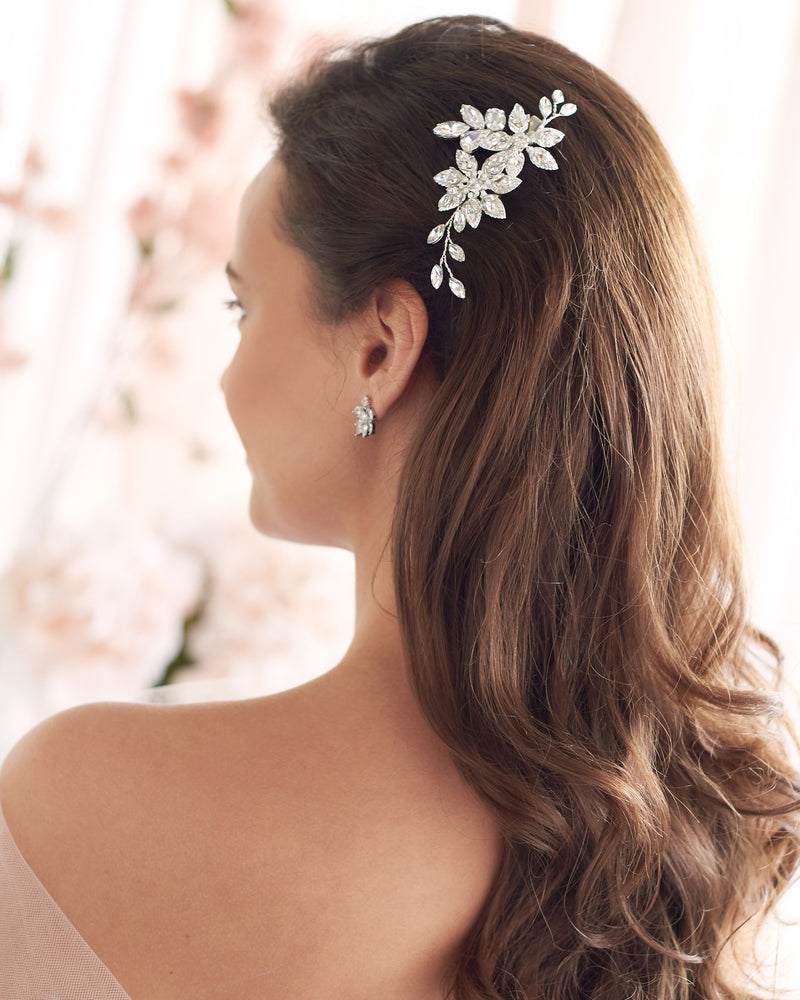 Floral Silver Crystal Wedding Day Hair Clip