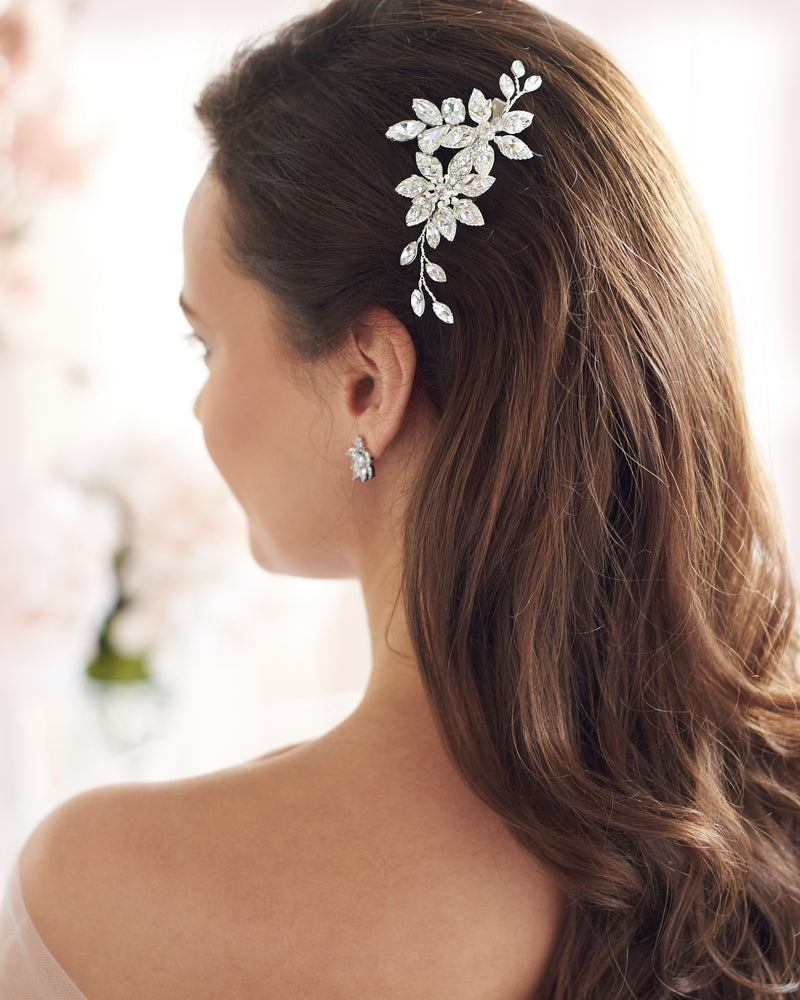 Silver Floral Pearl & Crystal Wedding Hair Clip