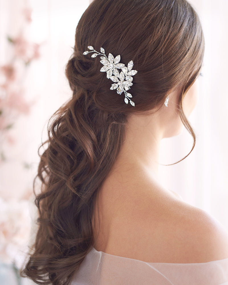 Floral Crystal & Pearl Bridal Clip