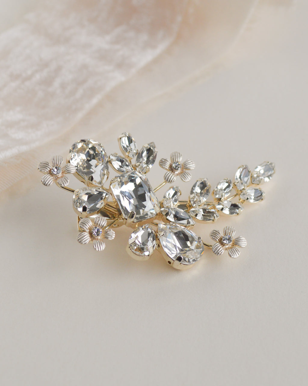 Vintage Style Old Gold Leaf Wedding Diamante Crystal Hair Clip Accessories