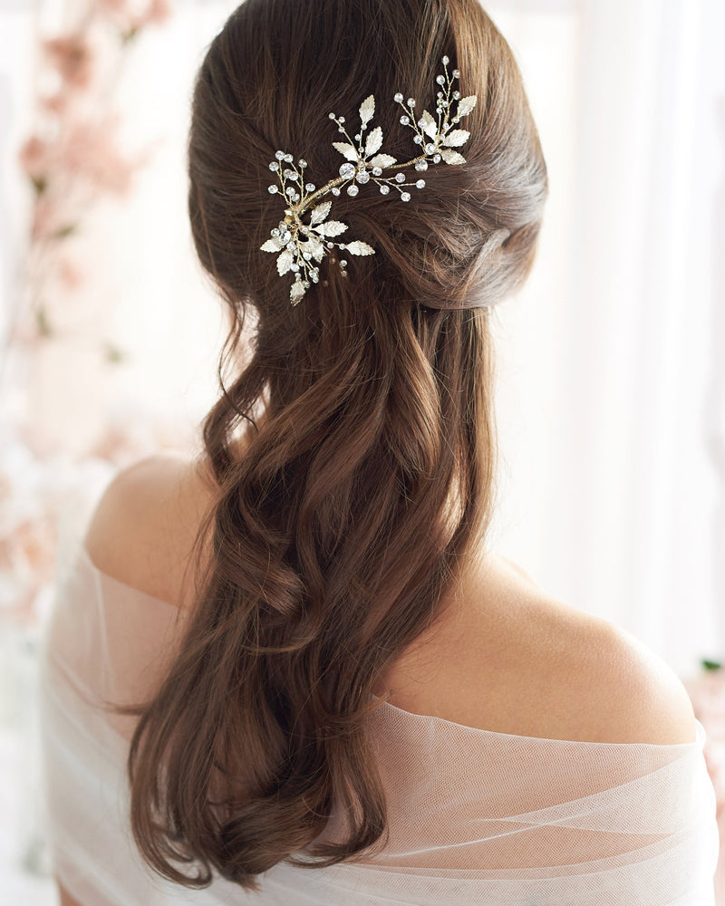 Floral Leaf Wedding Comb