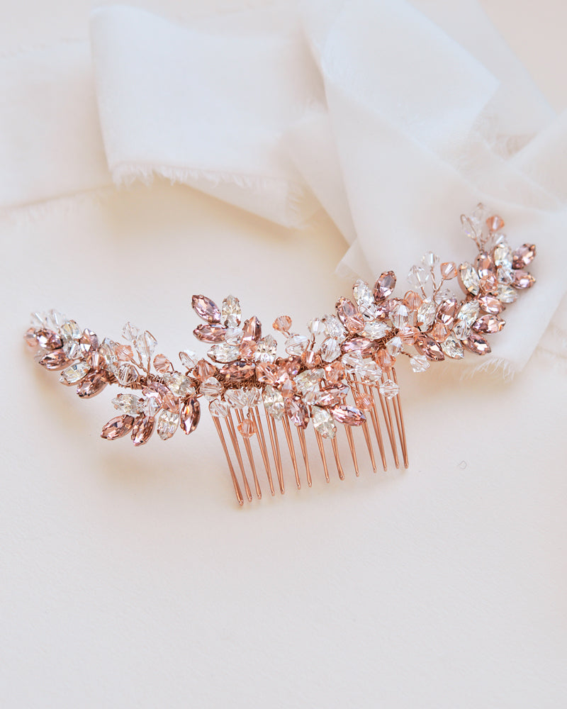 Rose Gold Crystal Comb