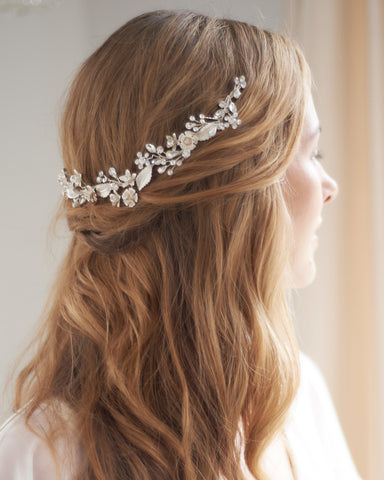 Botanical Leaf & Crystal Headband
