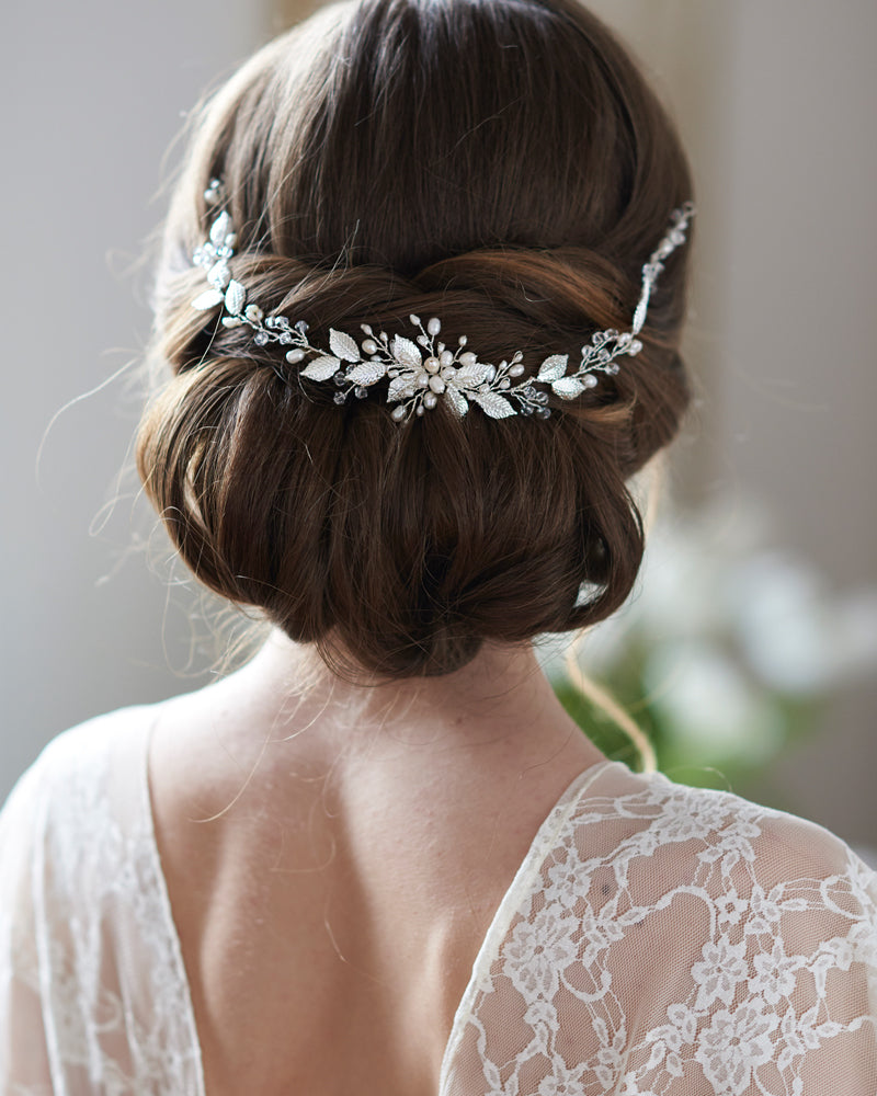 Silver Floral Wedding Hair Vine