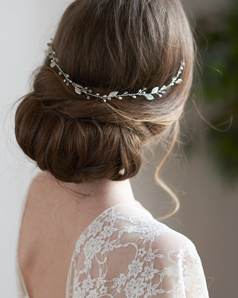 Crystal & Pearl Silver Wedding Headpiece