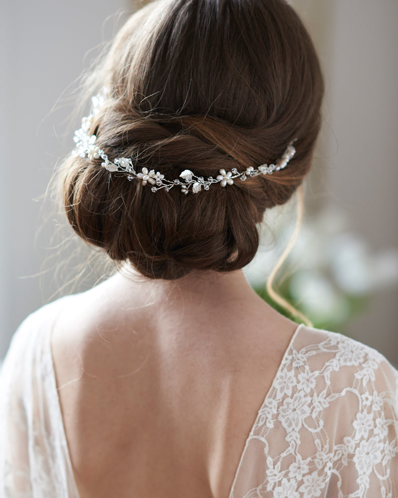 Crystal and Pearl Bridal Hair Vine