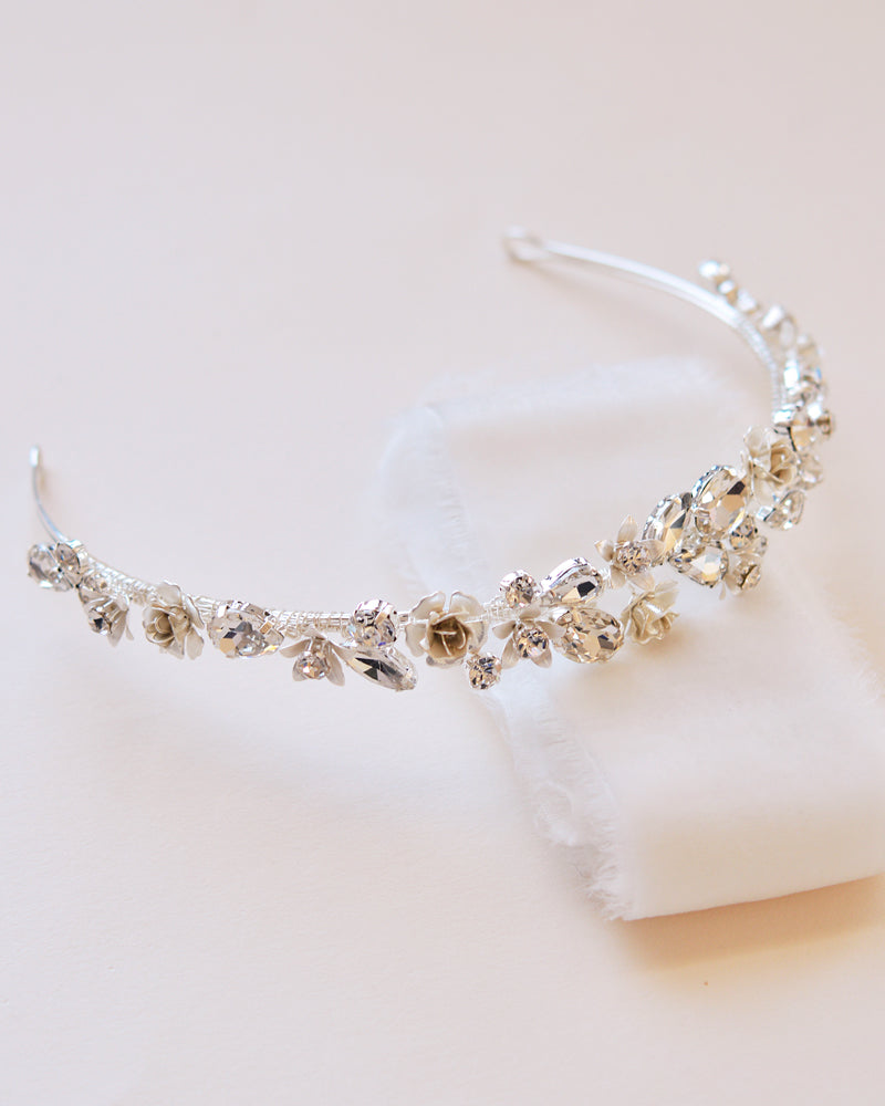 Silver Floral Wedding Headpiece