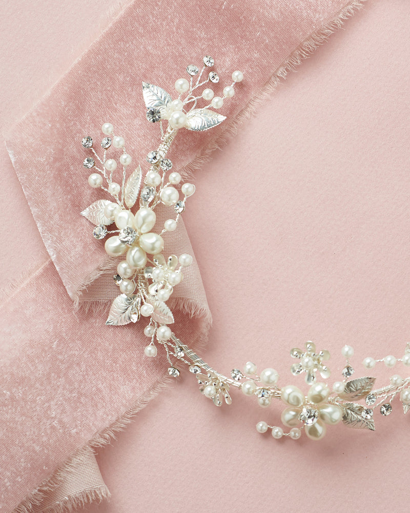 Floral Hair Vine with Pearls