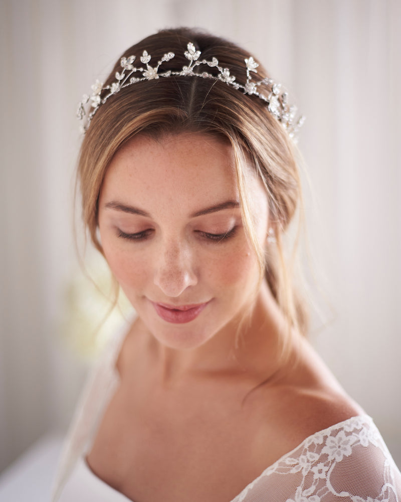Silver Pearl Floral Wedding Headpiece