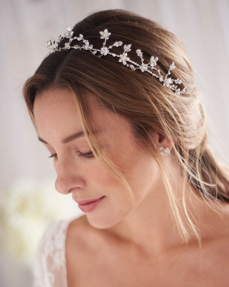 Silver Floral Wedding Tiara