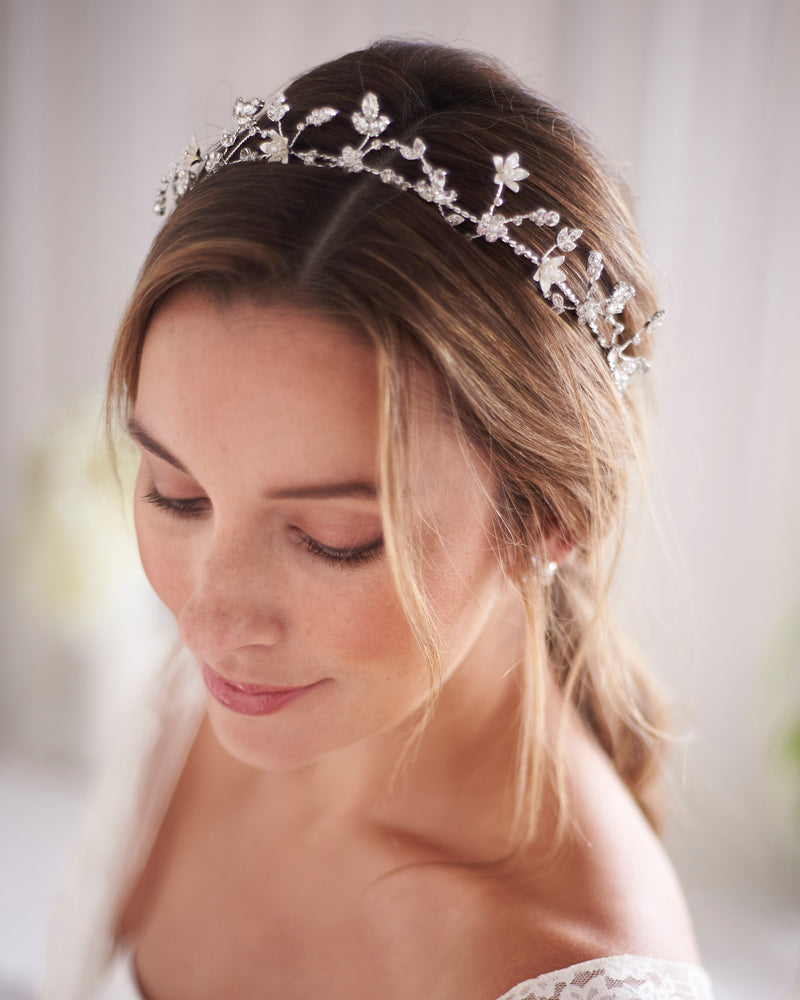 Silver Pearl & Floral Wedding Crown