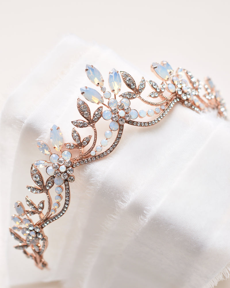 Rose Gold Opal Wedding Crown