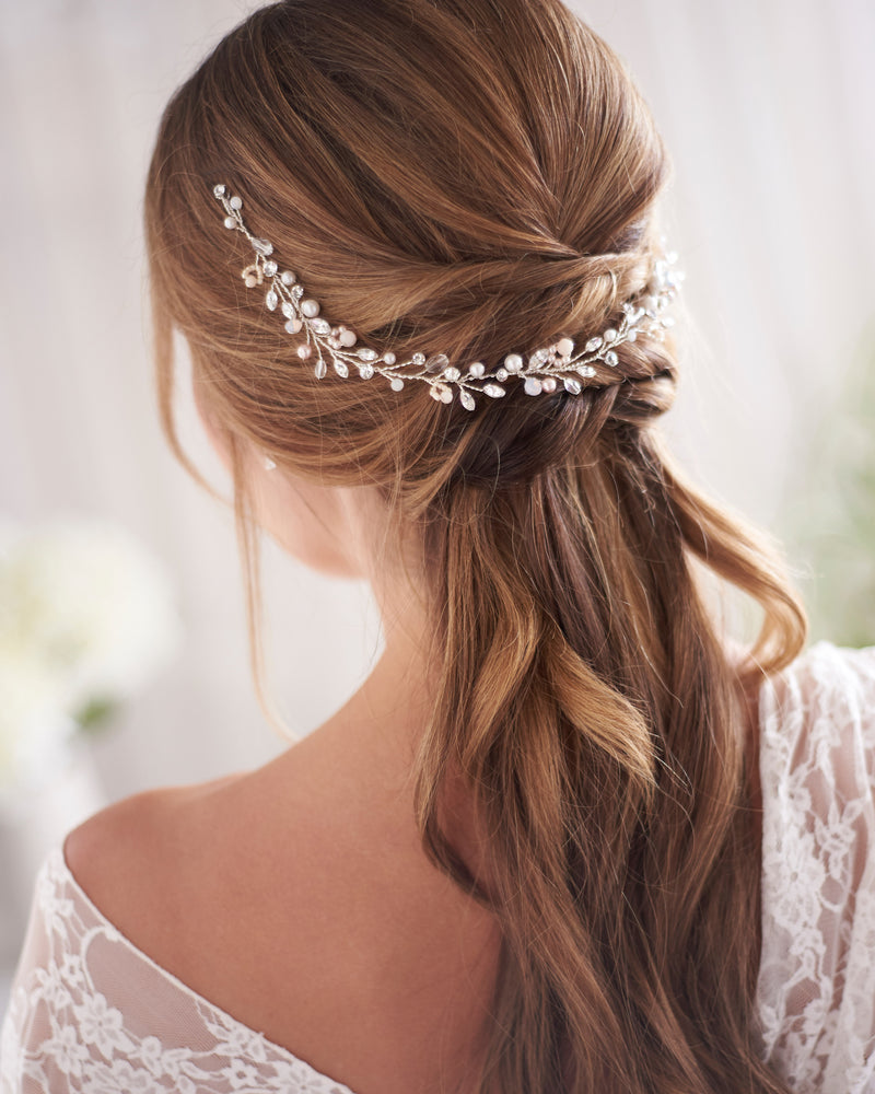 Silver Pearl & Floral Wedding Day Headpiece