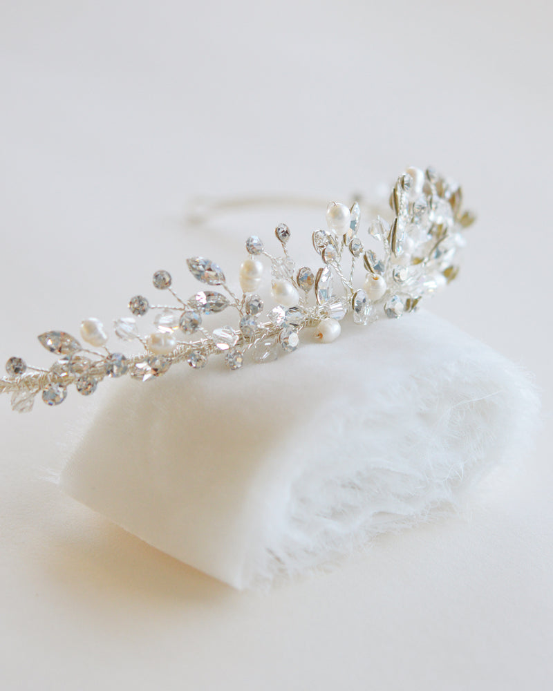 Pearl Crystal Bridal Crown