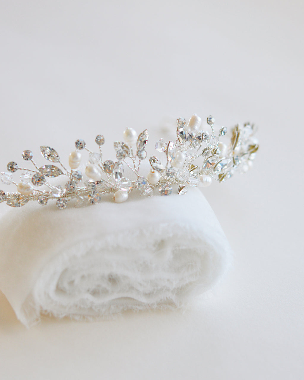 Silver Crystal & Pearl Wedding Day Tiara