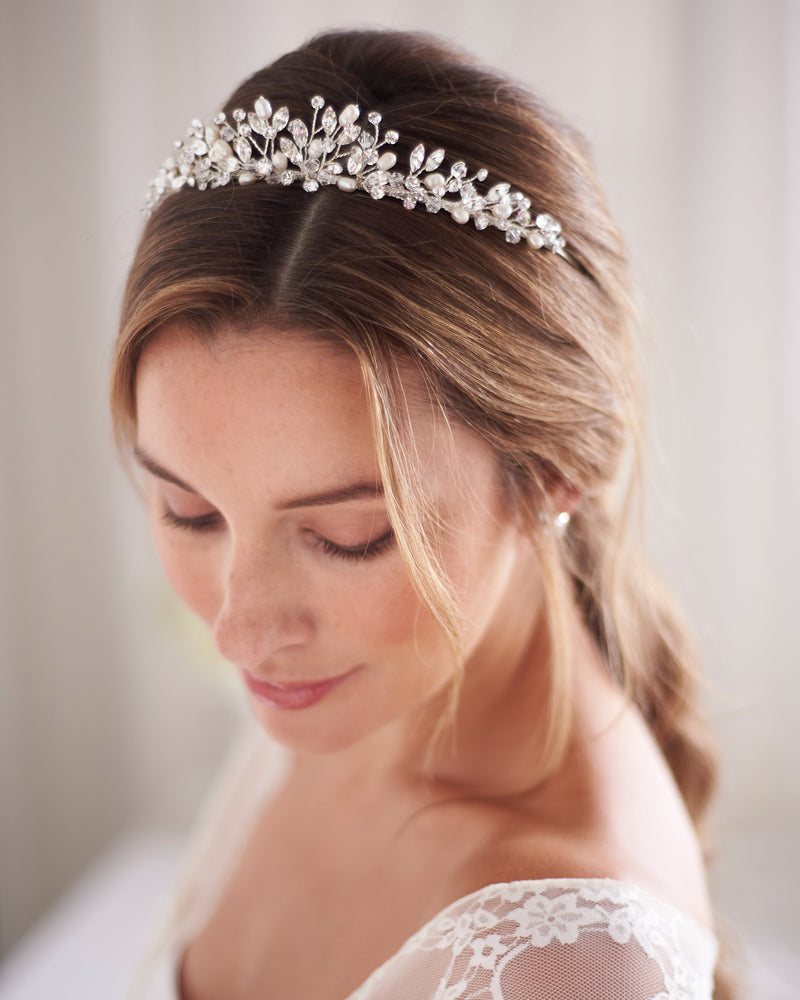 Silver Pearl & Crystal Wedding Day Tiara